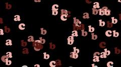 cartoon letter paper card matrix background,alphabet abc,computer screen.abstra - stock footage