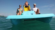 Stock Video Footage of Father, mother and their son sailing on catamaran