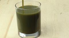 Drink Green Vegetable Juice Stock Footage