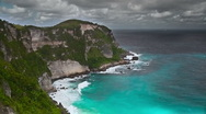 24 Panorama of the island, rock and ocean Stock Footage