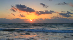 Sunrise in Cancun over the Waves of the Gulf of Mexico - stock footage