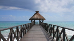 Ocean Pier in Cancun, Mexico - stock footage
