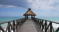 Stock Video Footage of Ocean Pier in Cancun, Mexico