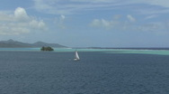 Stock Video Footage of Raiatea sailboat in lagoon vista