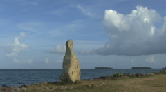 Stock Video Footage of Raiatea stone looking toward sea