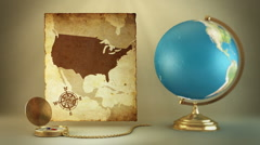 24 Turning globe, compass and ancient map of U.S.A. Stock Footage