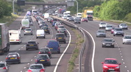 Stock Video Footage of heavy motorway traffic on the M40