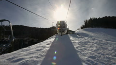 Winter Ski Resort Chair Lift Ride 4951 Stock Footage
