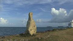 Raiatea stone by the sea 22 Stock Footage