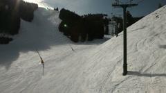 Winter Ski Resort Chair Lift Ride 4964 Stock Footage