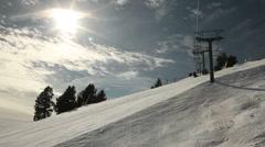 Winter Ski Resort Chair Lift Ride 4973 Stock Footage