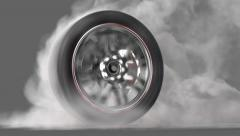 Wheel Burnout loop + alpha - stock footage