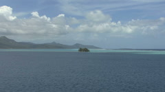 Raiatea zooms to motu island Stock Footage