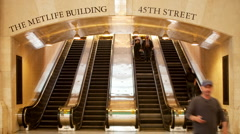 New york's grand central station transportation manhattan nyc escalator Stock Footage