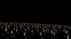 Crowd of Business men running, camera fly over Stock Footage
