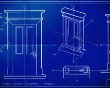 Door Technical Drawing Blueprint Time Lapse PAL Stock Footage