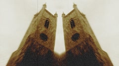 Double Clock Towers, Sepia Flickering Film Stock Footage