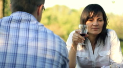 Unhappy, pensive woman on date with man drinking wine, dolly shot HD Stock Footage