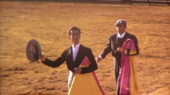 Man Takes Bow BULLFIGHT MATADOR BULL ARENA Fight 1970s Vintage Film Home Movie - stock footage
