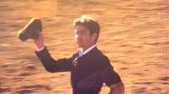 Winner Victory Lap BULLFIGHT MATADOR BULL Fight 1970s Vintage Film Home Movie - stock footage