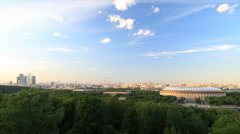 Panorama of Moscow city timelapse during sunset Stock Footage