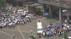 China protest dissent demonstration police home eviction city urbanization Stock Footage