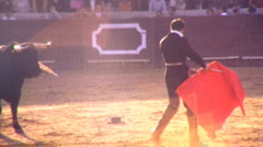 Man Fights Bull BULLFIGHT MATADOR ARENA Fight 1970s Vintage Film Home Movie 1jjj - stock footage