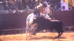 Man Fights Bull BULLFIGHT Horse Prance ARENA Spain 1970s Vintage Film Home Movie Stock Footage