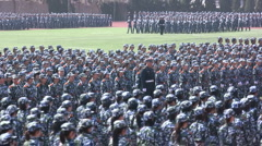 China army military parade marching students force Chinese world power Stock Footage