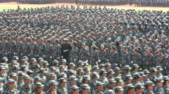 Chinese students take part in military parade Stock Footage