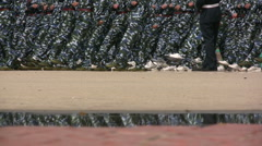 Practicing for big military parade in China Stock Footage
