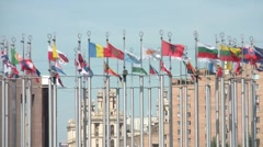 Flags At The Square Of Europe Stock Footage
