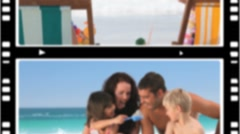 Montage of couples having fun with their children - stock footage