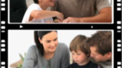 Montage of children spending time with their parents - stock footage