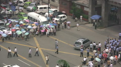 Police station in China - demonstration Stock Footage