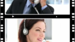 Montage of business people talking on the phone Stock Footage