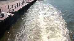 Ship Departs From The Pier Stock Footage