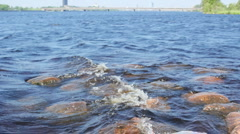 Waves hitting the rocks - stock footage