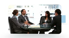 Montage of business people during mettings and talking on the phone Stock Footage