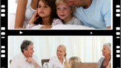 Montage of pleased families spending time together - stock footage