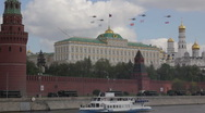 Stock Video Footage of helicopters with flags over the Kremlin in may 2011