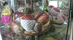 Fruits in Revolving Display Case Stock Footage