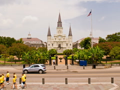 New Orleans Time-lapse Jackson Square Saint Louis Cathedral – 400x300 Stock Footage
