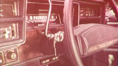 PAN Car Interior DASHBOARD Steering Wheel 1960s Vintage Film Home Movie Stock Footage