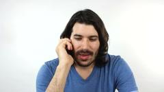 Man Hears Good News On Phone Stock Footage