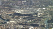 Aerial shot London Olympics 2012 Stock Footage
