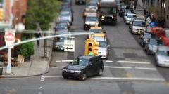 Manhattan street scene traffic lights urban nyc ny Stock Footage