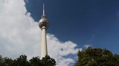 Berlin - TV Tower with Disturbing Biker Stock Footage