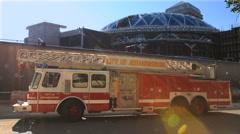 Firetruck and Sandton City post-fire, Johannesburg GFHD Stock Footage
