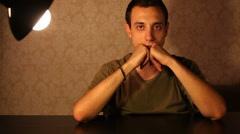 HD: Pensive Man Portrait Stock Footage